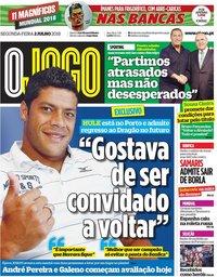 capa Jornal O Jogo de 2 julho 2018