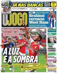 capa Jornal O Jogo de 2 agosto 2018