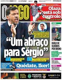 capa Jornal O Jogo de 3 maio 2018