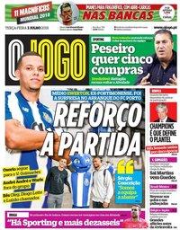 capa Jornal O Jogo de 3 julho 2018