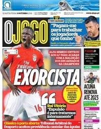 capa Jornal O Jogo de 3 outubro 2018