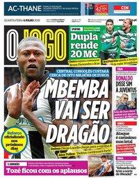 capa Jornal O Jogo de 4 julho 2018