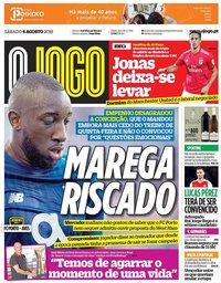 capa Jornal O Jogo de 4 agosto 2018