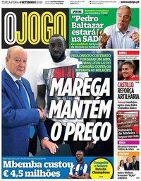 capa Jornal O Jogo de 4 setembro 2018