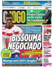 capa Jornal O Jogo de 5 julho 2018