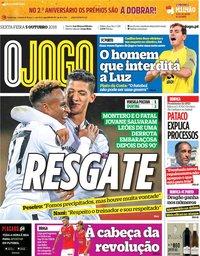 capa Jornal O Jogo de 5 outubro 2018