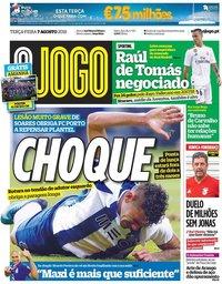 capa Jornal O Jogo de 7 agosto 2018