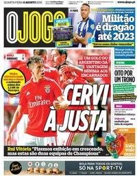 capa Jornal O Jogo de 8 agosto 2018