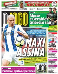 capa Jornal O Jogo de 9 julho 2018