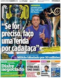 capa Jornal O Jogo de 9 agosto 2018