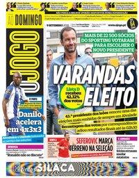 capa Jornal O Jogo de 9 setembro 2018