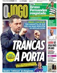 capa Jornal O Jogo de 10 julho 2018