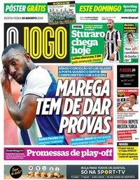 capa Jornal O Jogo de 10 agosto 2018