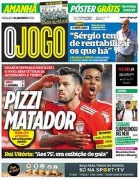 capa Jornal O Jogo de 11 agosto 2018