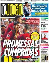 capa Jornal O Jogo de 11 setembro 2018