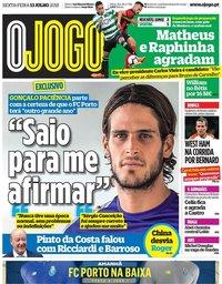 capa Jornal O Jogo de 13 julho 2018