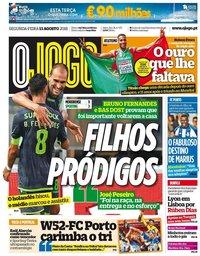 capa Jornal O Jogo de 13 agosto 2018