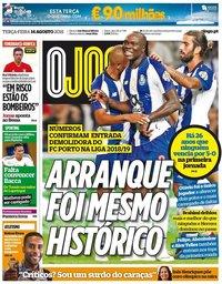 capa Jornal O Jogo de 14 agosto 2018