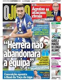 capa Jornal O Jogo de 14 setembro 2018