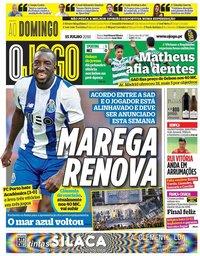 capa Jornal O Jogo de 15 julho 2018
