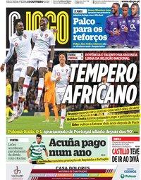 capa Jornal O Jogo de 15 outubro 2018