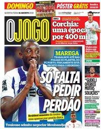 capa Jornal O Jogo de 16 agosto 2018