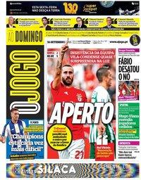 capa Jornal O Jogo de 16 setembro 2018