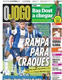 capa Jornal O Jogo de 16 outubro 2018