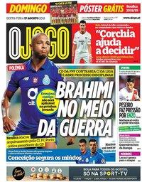 capa Jornal O Jogo de 17 agosto 2018