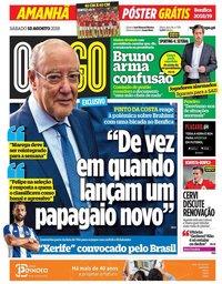 capa Jornal O Jogo de 18 agosto 2018