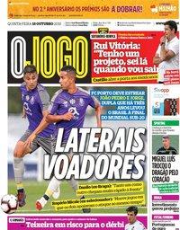 capa Jornal O Jogo de 18 outubro 2018
