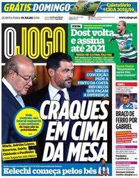 capa Jornal O Jogo de 19 julho 2018