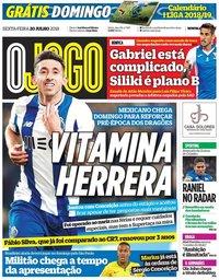 capa Jornal O Jogo de 20 julho 2018