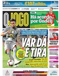 capa Jornal O Jogo de 20 agosto 2018
