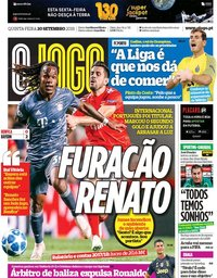 capa Jornal O Jogo de 20 setembro 2018