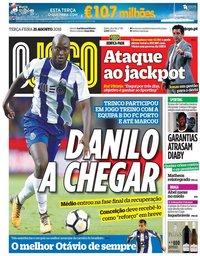 capa Jornal O Jogo de 21 agosto 2018