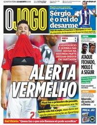capa Jornal O Jogo de 22 agosto 2018