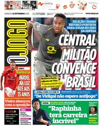 capa Jornal O Jogo de 22 setembro 2018