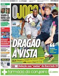 capa Jornal O Jogo de 23 julho 2018