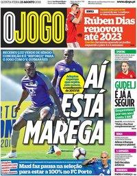 capa Jornal O Jogo de 23 agosto 2018