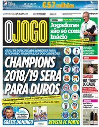 capa Jornal O Jogo de 24 maio 2018