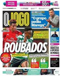 capa Jornal O Jogo de 25 agosto 2018