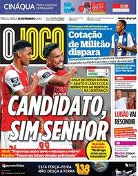 capa Jornal O Jogo de 25 setembro 2018