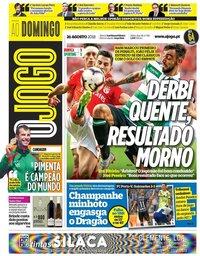 capa Jornal O Jogo de 26 agosto 2018