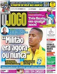 capa Jornal O Jogo de 27 julho 2018