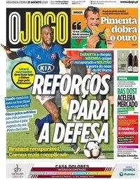capa Jornal O Jogo de 27 agosto 2018