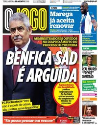 capa Jornal O Jogo de 28 agosto 2018