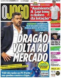 capa Jornal O Jogo de 29 agosto 2018