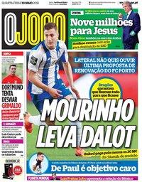 capa Jornal O Jogo de 30 maio 2018