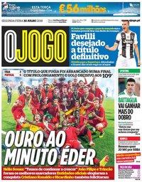 capa Jornal O Jogo de 30 julho 2018